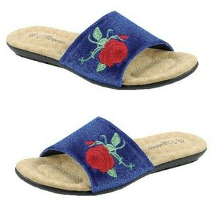 Shoes - Women's Slip On Blue Suede w embroidered rose
